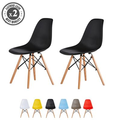 Set of 2 Modern Design Chair Eames Style Dining Chairs (Black) Lia