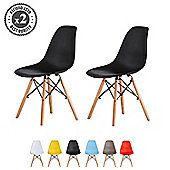 Set of 2 Modern Design Chair Eames Style Dining Chairs (Black)