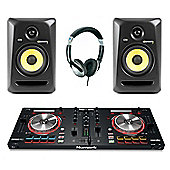Numark Mixtrack Pro 3 DJ Contoller, KRK RP5 Active Monitor Pack, Includes JB's Headphones And Cables