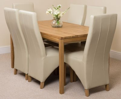 Bevel Solid Oak 150 cm Dining Table with 6 Ivory Lola Leather Chairs
