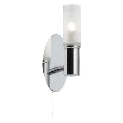 BATHROOM - IP44 1 LIGHT WALL BRACKET, CHROME, FROSTED GLASS TUBE SHADE