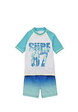 F&F Surf 87 UPF 50+ Rash Top and Board Short Set - Aqua