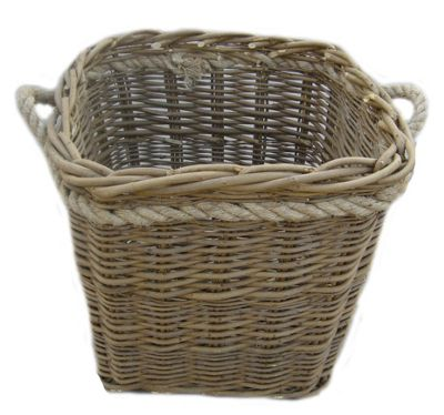Wicker Valley Square Log Basket with Rope Handles