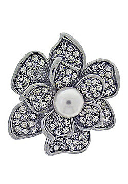 Rhodium Plated, Crystal and Single Pearl Flower Brooch
