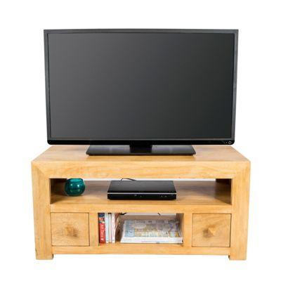 Homescapes Dakota TV Unit with 2 Drawers Oak Shade