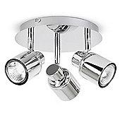 Benton 3 Way GU10 Ceiling Spotlight, Chrome IP44 Rated