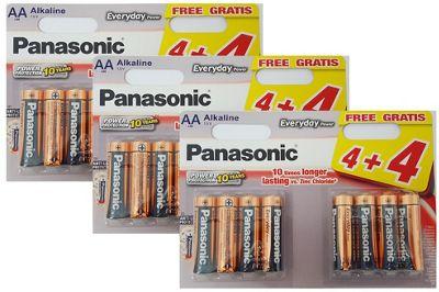 24 x Panasonic AA Batteries Everyday Power Silver Alkaline LR6