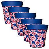 5 x 22cm Blue & Pink Floral Plastic Garden Planter 5L Flowerpot by Hum