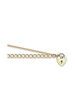 Ladies Solid 9ct Gold Love Heart Padlock Open 4mm Gauge Charm Bracelet