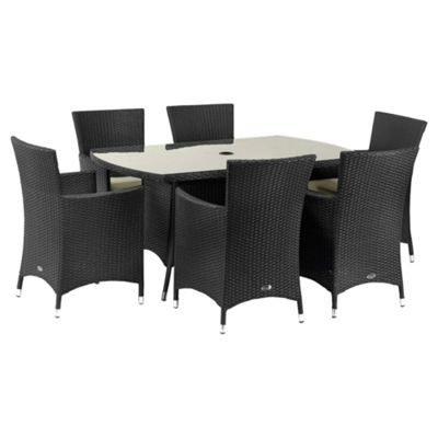Royalcraft Cannes 6-seat Garden Furniture Set, Black