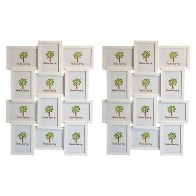 Nicola Spring Multi Collage Hanging Photo White Frame - 12 photo spaces - Pack Of 2