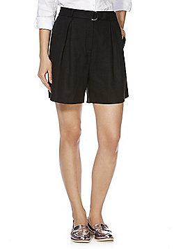 F&F Premium Tencel® D-Ring Belted Shorts - Black