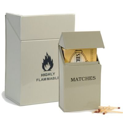 Firelighter Storage Tin in Clay Colour - Hinged Lid