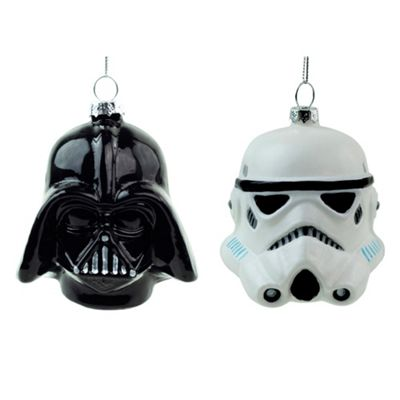 Official Star Wars Darth Vader & Stormtrooper Glass Christmas Tree Baubles