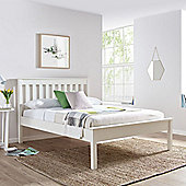 Happy Beds Grace Wooden Low Foot End Bed with Bonnell Spring Mattress - White