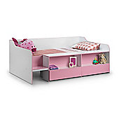 Happy Beds Stella Pink and White Wooden Kids Low Sleeper Cabin Storage Bed Frame 3ft Single