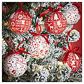 Red and White Decoupage Christmas Baubles, 14 pack