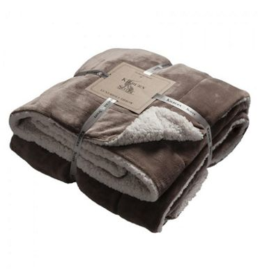 Kilburn & Scott Taupe Sherpa Throw, 152 x 177 cm