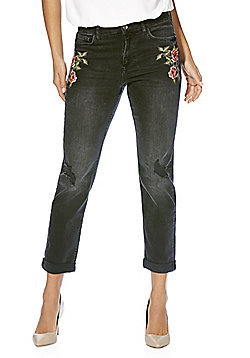 F&F Embroidered Mid Rise Straight Leg Jeans - Washed black