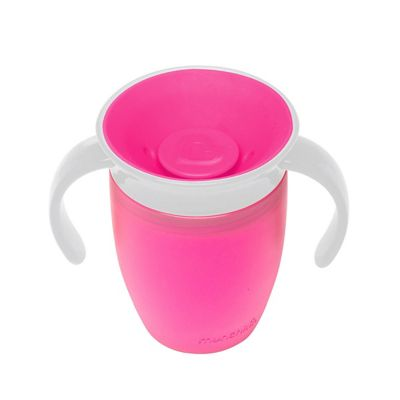 Munchkin Baby Miracle Non-Spill 360° Easy Grip Handle Toddler Trainer Cup 207ml Pink