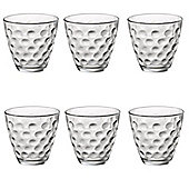 Bormioli Rocco Dots Dimpled Clear Glass Drinking Tumblers - 250ml - Pack of 6