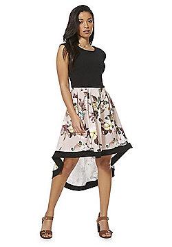 Feverfish Floral Print High-Low Hem Dress - Black/Pink