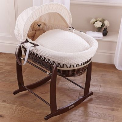 Clair de Lune Dimple Dark Wicker Moses Basket (Cream)