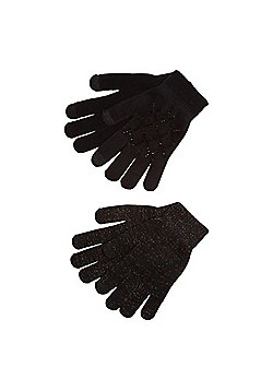 F&F 2 Pack of Diamant© and Sparkle Touch Screen Gloves - Black