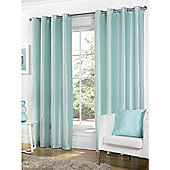 Hamilton McBride Faux Silk Lined Eyelet Duck Egg Curtains - 46x54 Inches (117x137cm)