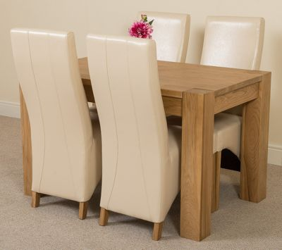 Kuba Chunky Solid Oak 125 cm Dining Table with 4 Ivory Lola Leather Chairs