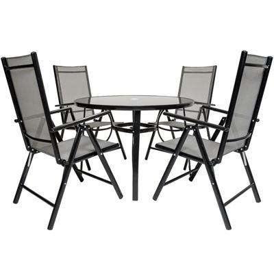 Charles Bentley 4 Seater Black Mesh Round Dining Set