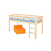 Comfy Living 3ft Single Mid Sleeper in Pine with Basic Budget Mattress