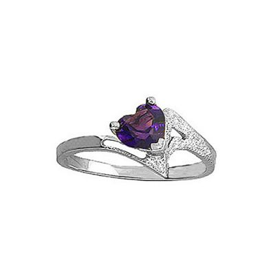 QP Jewellers 0.60ct Amethyst Heart Ring in Sterling Silver - Size L 1/2