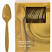 Gold Plastic Spoons - 100 Pack