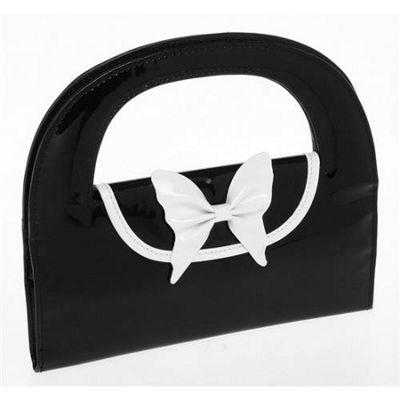 Large Round Jewellery Bag / Purse - Black / White