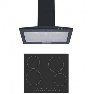 Cookology CET600 Ceramic Hob & CH600BK 60cm Chimney Cooker Hood Pack in Black