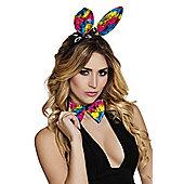 Gay Pride Carnival Rainbow Lace Bunny Ears On Headband & Bow Tie Set