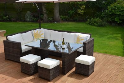 Granada Garden Rattan Corner Sofa Dining Set Table Brown