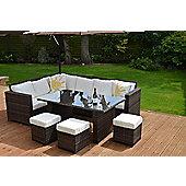 granada garden rattan corner sofa dining set table brown