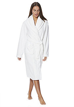 F&F Fleece Dressing Gown - Cream