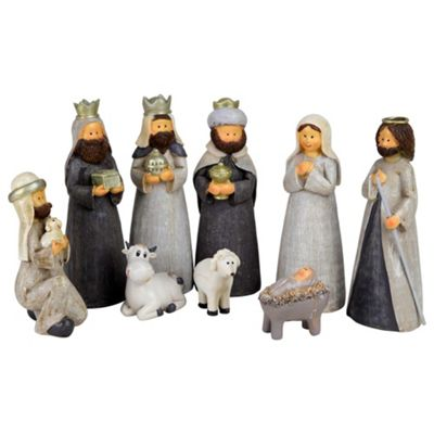 9pc Grey Polyresin Nativity Crib Scene Christmas Ornament Set