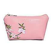 Small Pink Blossom Embroidered Make Up Bag