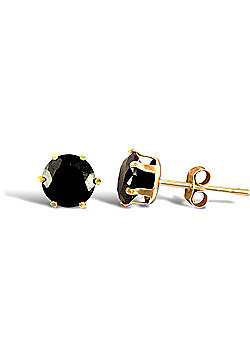 Ladies 9ct Gold Black Round Brilliant Cubic Zirconia Solitaire Claw Set Stud Earrings, 5mm