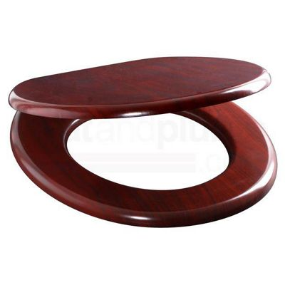 Wood Mahoganny MDF Wood Toilet Seat with Metal Bar Hinge