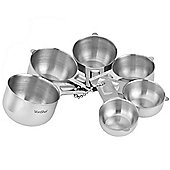 VonShef Premium Stainless Steel 6pc Stackable Measuring Cup Set