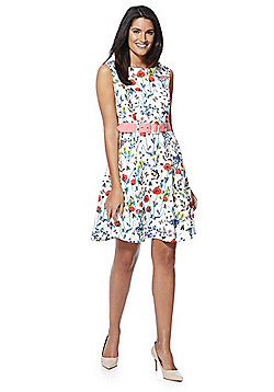 Yumi Wildflower Print Fit and Flare Dress - Ivory