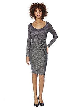 Only Ramona Sparkle Knit Knot Front Dress - Silver