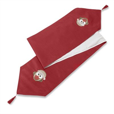 Christmas Owl Red Table Runner - 13x72 Inch