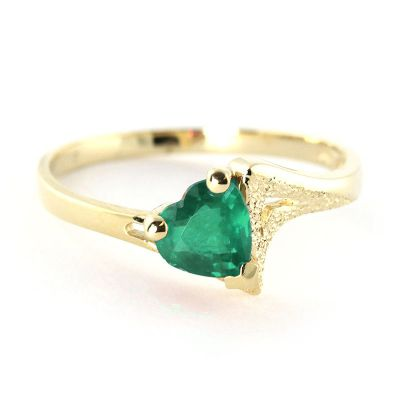 QP Jewellers 1.0ct Emerald Devotion Heart Ring in 14K Gold - Size C