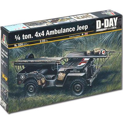 Italeri 1/4 Ton 4X4 Ambulance Jeep D-Day 326 1:35 Military Model Kit